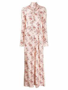 Paco Rabanne floral-print long dress - PINK