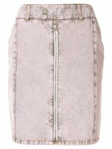 MSGM zip detail acid wash skirt - PINK