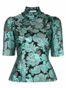 Erdem metallic print blouse - Blue