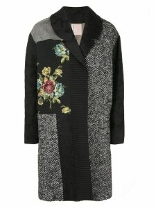 Antonio Marras patchwork jacquard coat - Black