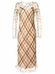 Agnona check print dress - Brown