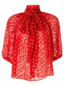 Rebecca Taylor Sunrise Dot pussy bow jacquard blouse - Red