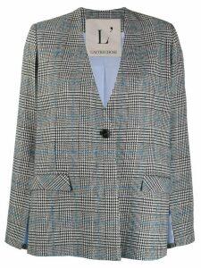 L'Autre Chose check cut-out sleeve blazer - Black
