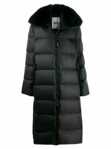 Yves Salomon Army oversized fur-trimmed coat - Black