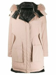 Yves Salomon Army fur trim hooded padded parka - PINK