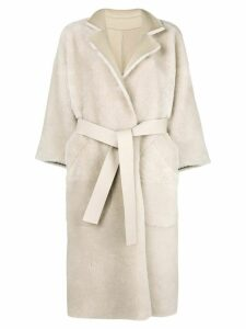 Rochas belted long sleeved coat - Neutrals