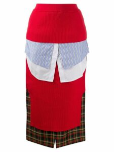 Enföld layered plaid pencil skirt