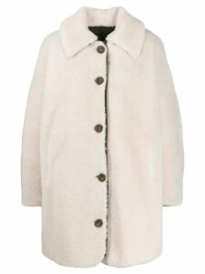 Yves Salomon Army single-breasted oversized coat - White