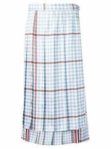 Thom Browne Gun Club Overcheck Silk Skirt - Blue