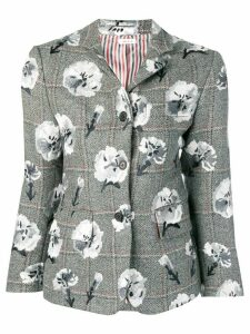 Thom Browne Carnation Embroidered Narrow Sport Coat - Grey