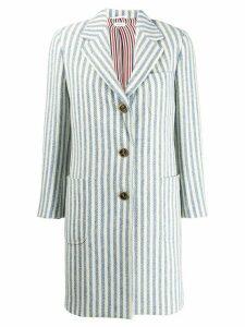 Thom Browne University Stripe Tweed Sack Overcoat - Blue