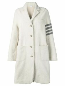 Thom Browne 4-Bar Narrow Oversized Sack Overcoat - White