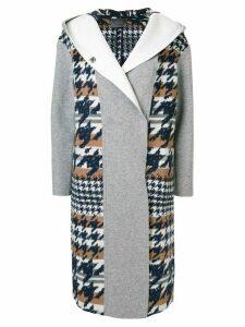 Lorena Antoniazzi hooded houndstooth coat - Grey