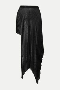 Peter Do - Asymmetric Pleated Metallic Voile Skirt - Silver