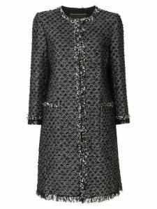 Andrew Gn metallic collarless coat - Black