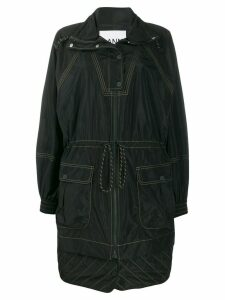 Ganni oversized drawstring detail parka - Black