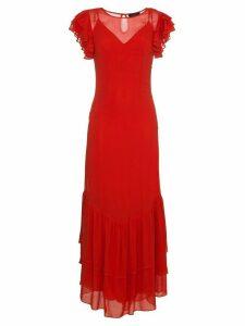 De La Vali Shortsleeved maxi dress with ruffles - Red