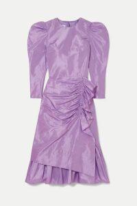 Pushbutton - Ruched Ruffled Silk-taffeta Midi Dress - Purple