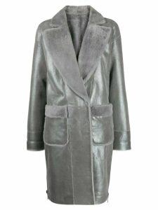 Lorena Antoniazzi metallic leather coat - Grey