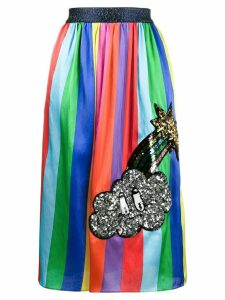 Mira Mikati Striped Midi Skirt with Sequin Patch - Multicolour
