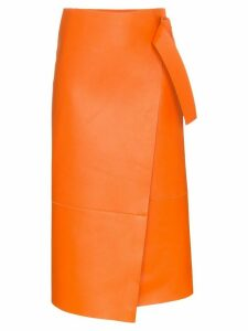 Joseph geometric midi wrap lambskin skirt - Orange