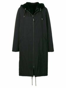 Yves Salomon Army oversized hooded coat - Black