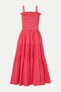 Molly Goddard - Tiered Shirred Taffeta Midi Dress - Pink