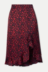 Maje - Javie Ruffled Floral-print Satin Skirt - Black