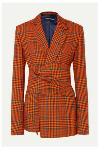 House of Holland - Knotted Prince Of Wales Checked Wool-blend Blazer - Orange