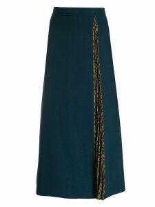 Fendi Zucca trim midi skirt - Blue