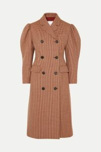 Pushbutton - Houndstooth Wool-blend Double-breasted Coat - Red