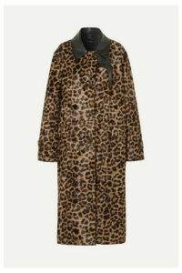 Rokh - Deckard Leather-trimmed Leopard-print Faux Fur Coat - Leopard print