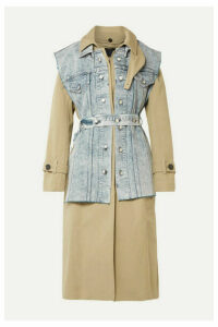 Proenza Schouler - Convertible Cotton-gabardine And Denim Trench Coat - Army green