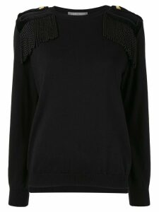 Alberta Ferretti KNIT TOP WITH VELVET DETAILS AND FRINGES - 0555 Black
