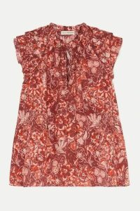 Ulla Johnson - Rina Ruffled Floral-print Cotton-blend Voile Blouse - Brick