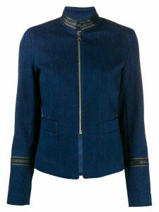 Karl Lagerfeld logo tape zipped denim jacket - Blue