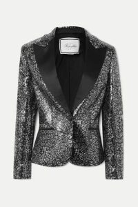 Redemption - Satin-trimmed Leopard-print Sequined Tulle Blazer - Black