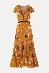 Johanna Ortiz - Golden Blossom Velvet-trimmed Ruffled Pleated Crepe De Chine Maxi Dress - Mustard