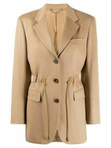 Salvatore Ferragamo drawstring fitted blazer - Neutrals