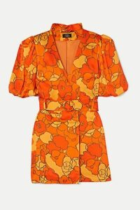 De La Vali - Mila Belted Floral-print Satin-twill Mini Dress - Orange