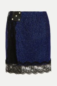 Christopher Kane - Lace-trimmed Crystal-embellished Chainmail Mini Skirt - Blue