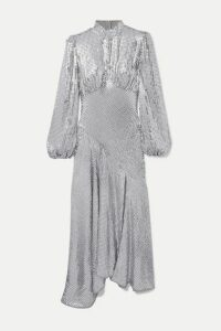De La Vali - Clara Sequined Tulle Midi Dress - Silver