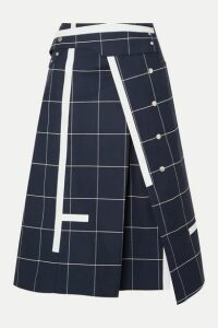 3.1 Phillip Lim - Checked Cotton-blend Twill Midi Skirt - Navy