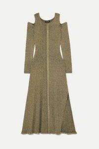 Saloni - + Venyx Cold-shoulder Metallic Ribbed-knit Midi Dress - Gold