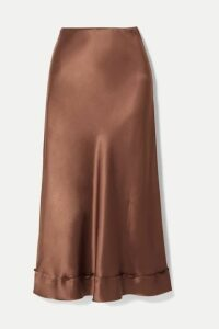 Lee Mathews - Stella Picot-trimmed Silk-satin Midi Skirt - Chocolate