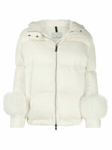 Moncler feather detail puffer jacket - Neutrals