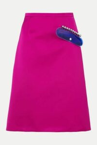 Christopher Kane - Embellished Satin Skirt - Magenta