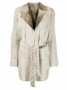 Salvatore Santoro reversible short coat from lapin rabbit skin, ligt