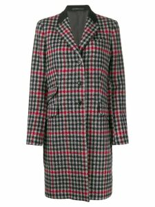 Paul Smith check print tailored coat - Black