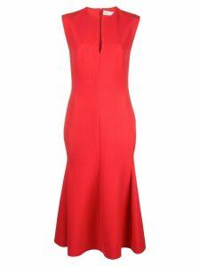 Victoria Beckham V-neck sleeveless flared dress - ORANGE